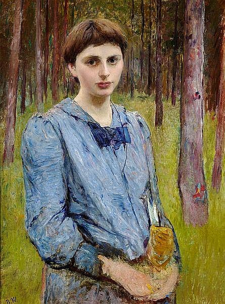 Bertha Wegmann - Portrait of a young woman in a blue dress