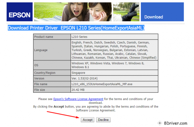 start download epson l210 printer driver