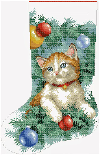 Sitting in the trimmings stockingcross stitch pattern
