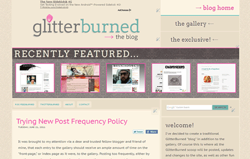 GlitterBurned Blog Screen Capture