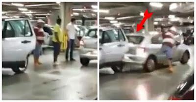 Disputa por estacionamento leva condutor furioso a chocar de propósito