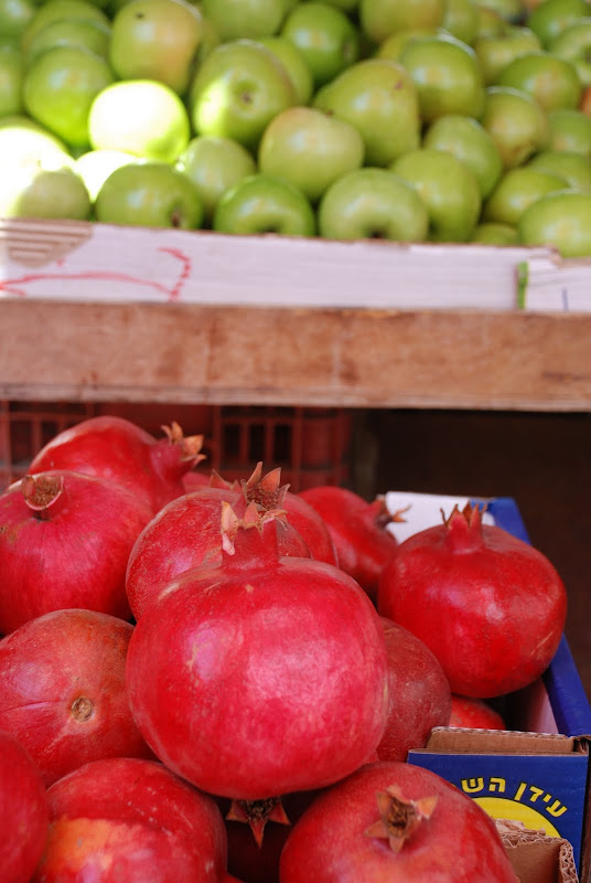 pomegranates and apples