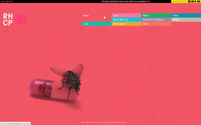 *色彩變化豐富的搖滾樂團網站 Red Hot Chili Peppers Web Site 2