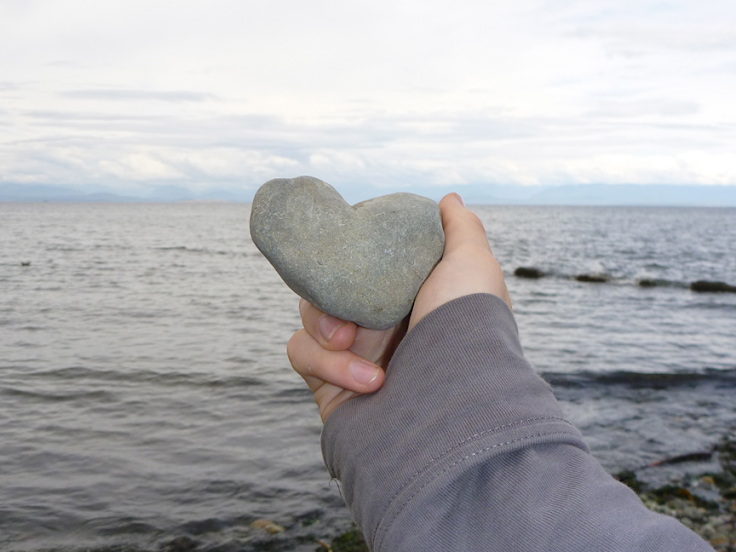 Heart-shaped rock at Miracle Beach – Vancouver Island, BC (August 2012)