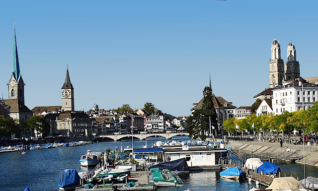 view of Limmat river and boats