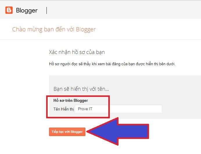 Tên hiển thị Blogger