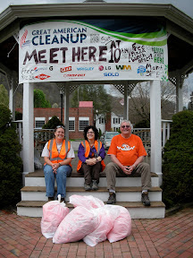 Amanda Duncan, UTRR board member, Andrea Rocchio, OSM/VISTA, and Keith Janovec, local volunteer celebrate a successful cleanup in Cedar Bluff. Five bags of recycling and four bags of trash were collected in only a few hours.