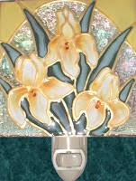 yellow iris with topaz jewels