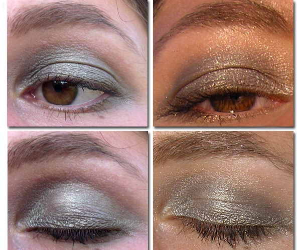 Clarins Mono Couleur Eyeshadow Silver Green 23 и Frost Pink 16 на глазах