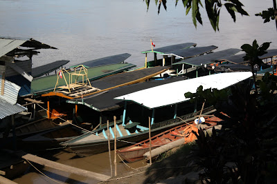 Boats on the Madre de Dios River in Puerto Maldonado in Peru