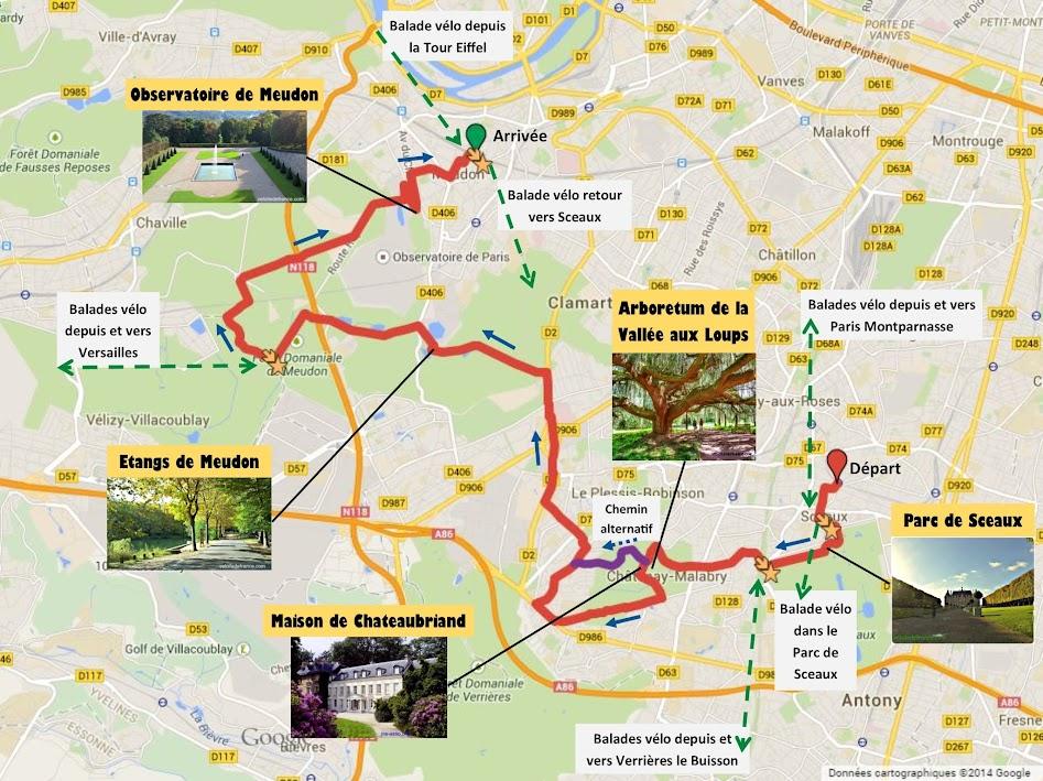 Tracé Balade à vélo de Sceaux à Meudon par veloiledefrance.com