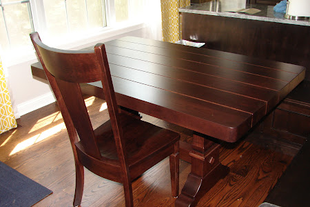 "56"" x 36"" Tuscany Dining Table and Corsica Chair in Galley Hickory, with Custom Plank Tabletop"