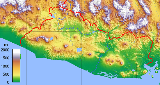 Mapa topográfico de El Salvador