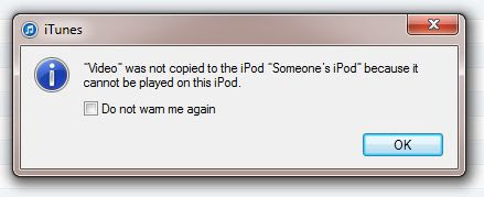 Video file sync error window in iTunes