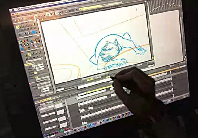 Justin Murphy animating a scene from Dawgtown with TVPaint