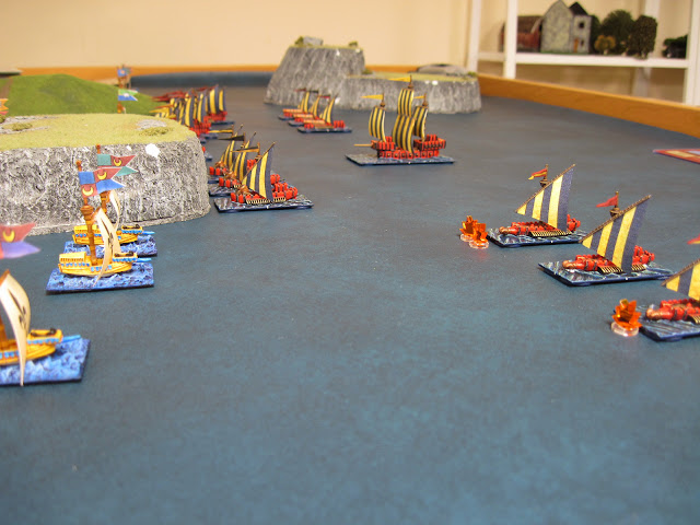 Buccaneers on the right flank fair better and do some real damage to the War Galleys.