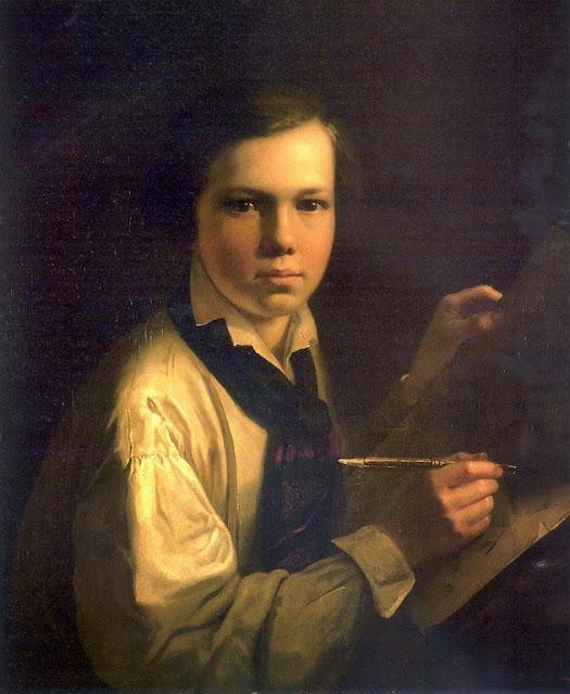 Vasily Tropinin - Portrait of the Artist's Son the easel