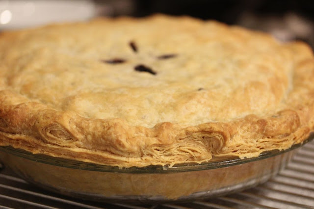 close-up of pie with interestingly stratified crust