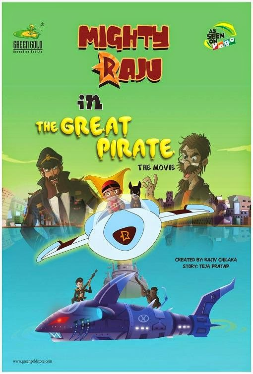 Poster Of Mighty Raju In The Great Pirate (2014) Full Movie Hindi Dubbed Free Download Watch Online At Alldownloads4u.Com