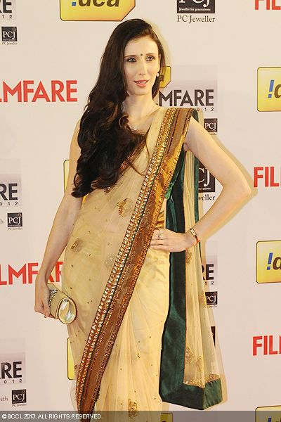 Claudia Ciesla looked lovely in a sari during the 58th Idea Filmfare Awards 2013, held at Yash Raj Films Studios in Mumbai.Click here for:<br />  58th Idea Filmfare Awards