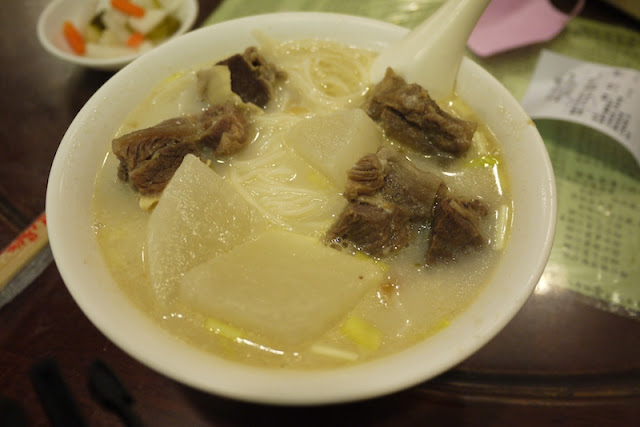 Brisket and turnips in a fish broth noodle soup at Nanxin (南信) in Guangzhou, China