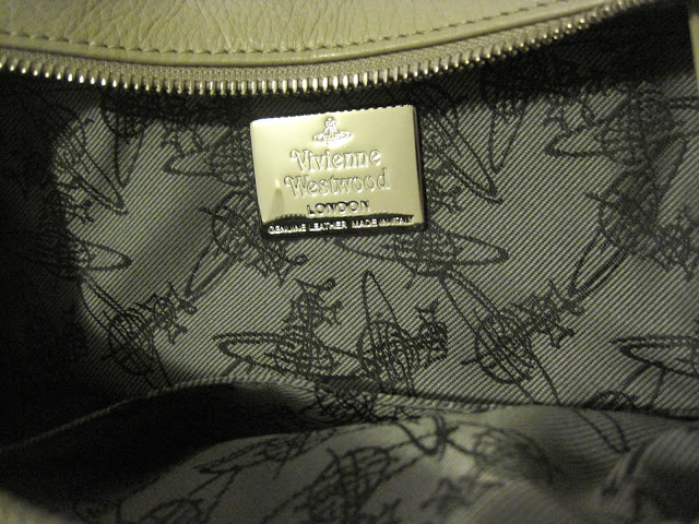 207d5ad89f4 Images show the signature logo and lining of Vivienne Westwood bags.