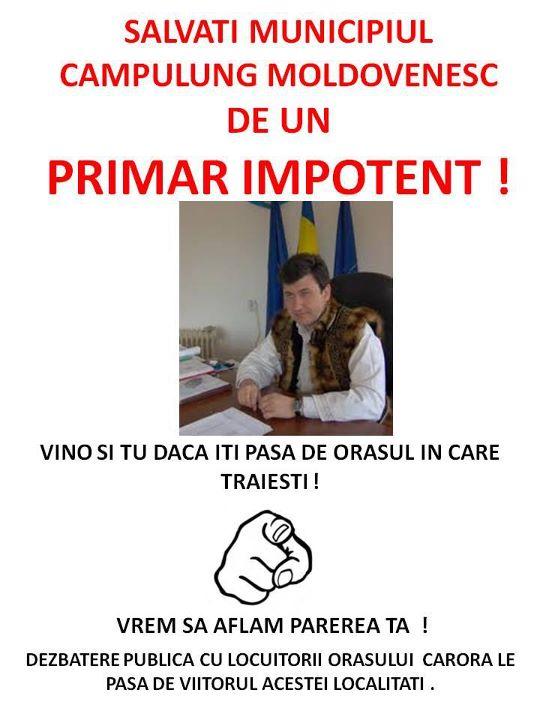 UPDATE Impotenţa primarului Gabriel Şerban, subiect de campanie pe Facebook