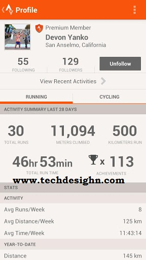 Strava Run android app