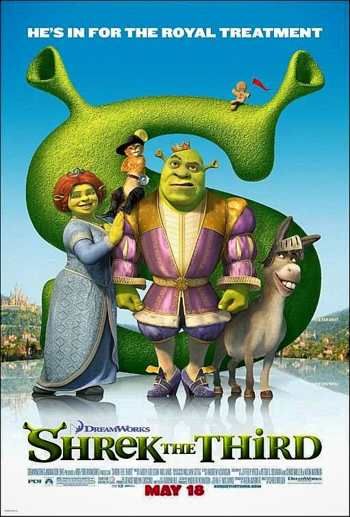 Poster Of Shrek the Third (2007) Full Movie Hindi Dubbed Free Download Watch Online At Alldownloads4u.Com