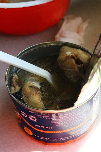 Russian canned food tuna