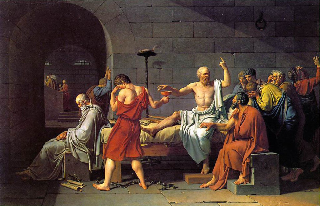 Resultado de imagem para The Death of Socrates by Jacques-Louis David, 1787.