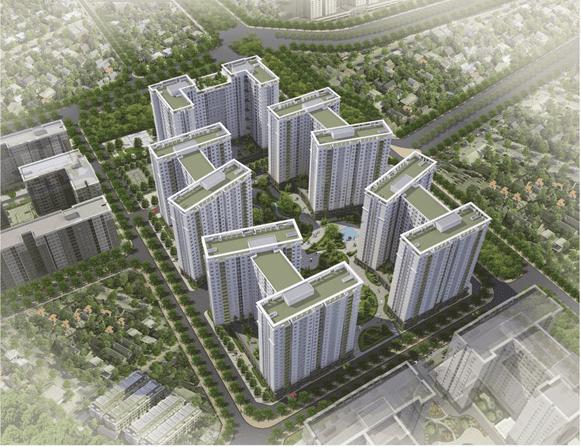 Phối cảnh dự án chung cư căn hộ nhà ở xã hội Ecohome 3