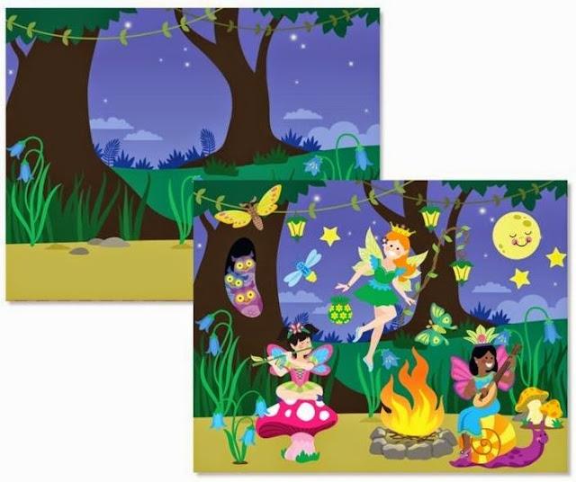 Một buổi tiệc đem của các nàng tiên được tạo nên từ Sách sticker Vương quốc hoa tiên ME8603