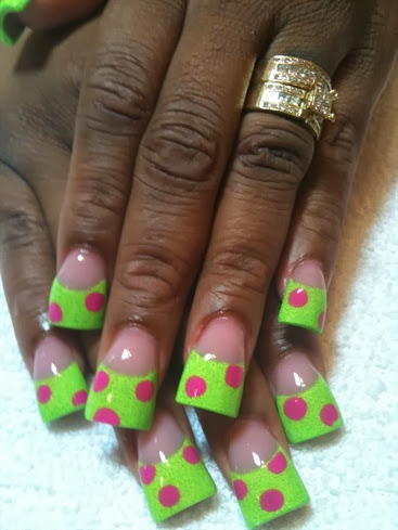 neon green with pk polka dots