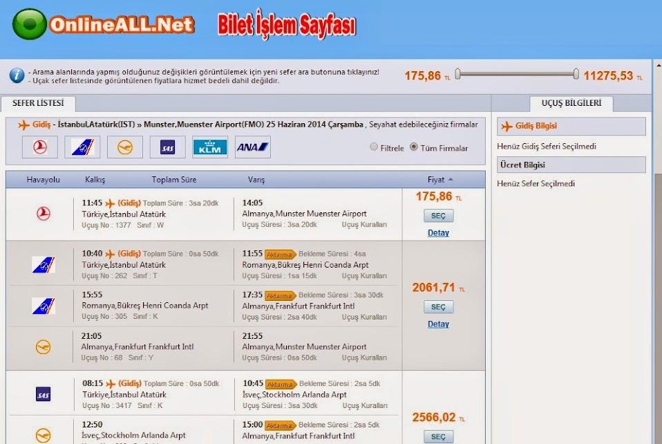 İstanbul Atatürk Almanya Münster Uçak Seferleri