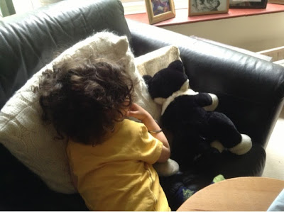 toddler and cat toy on sofa cushions