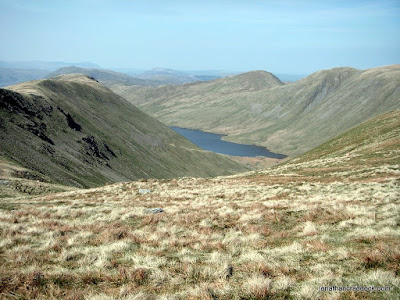 Gray Crag to left with Hayeswater in the valley