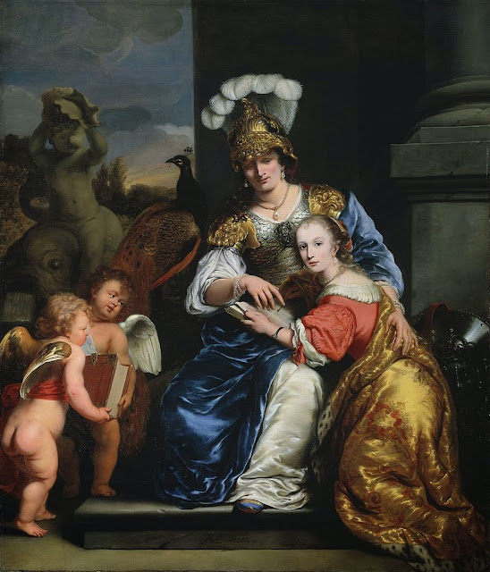 Ferdinand Bol - Allegory on Education, Margarita Trip Teaching her Sister Anna Maria Trip