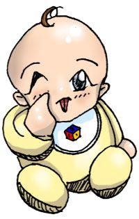Cartoon Baby with a Little Hair