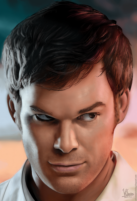 Colored ink drawing of Michael C. Hall as Dexter, using Krita 2.5.