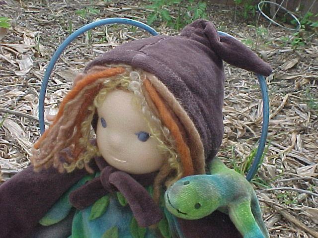 "12"" Elf  Waldorf Doll with his Lizard Friend"