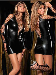 Black Rope Vinyl Dress