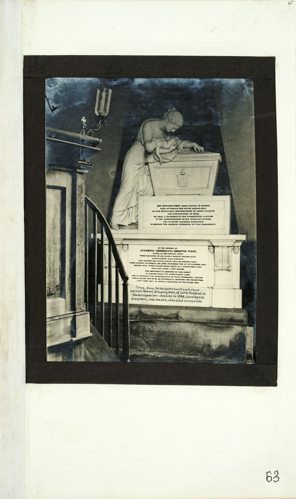 A Record of Shelford Parva by Fanny Wale P63 fo. 65, page 63: Photograph of the monument to Lucretia Georgiana Browne West, and her husband Sir Edward West, both died in 1828. [not in photographic copy]