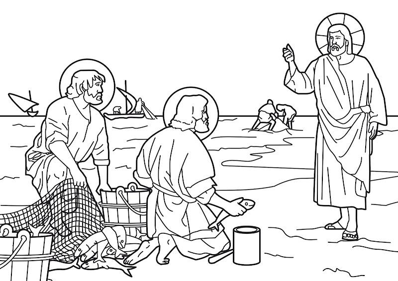 Dibujos Católicos : Jesús pescador de hombres para colorear