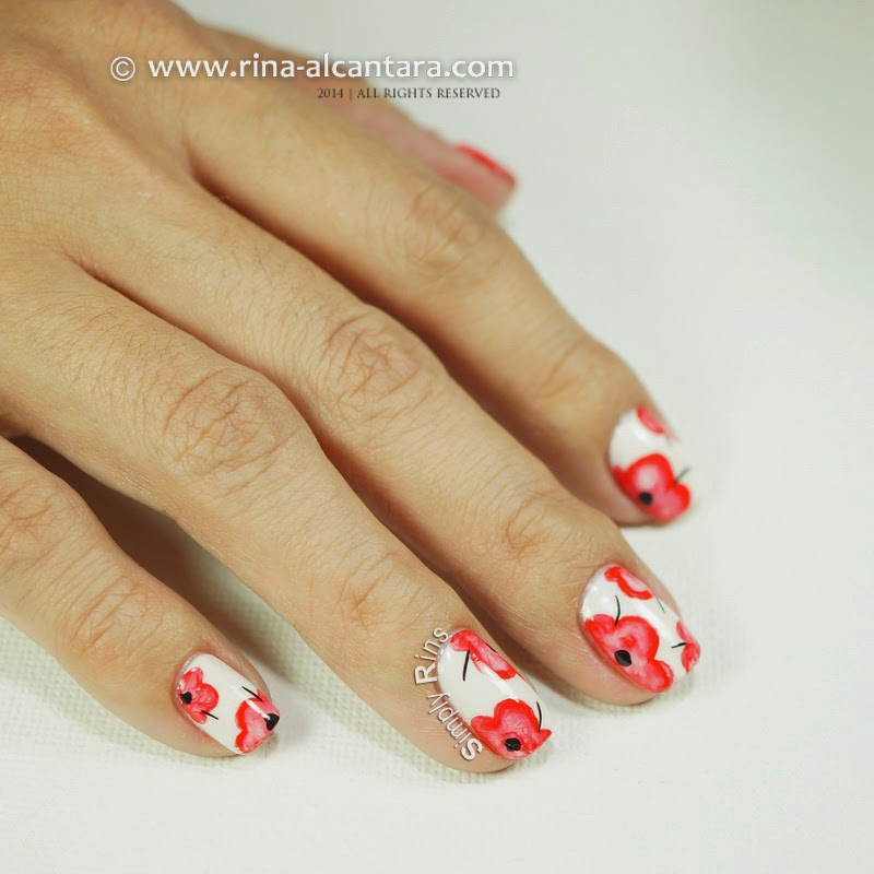 Pretty Poppies Nail Art