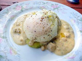 Jalapeno Pecorino biscuit with smoked pork gravy and fried egg, a special at Hop & Vine, Fire & Brimstone version 2012