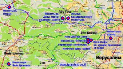 Карта маршрута экскурсии Монастыри в Иудейских горах. Гид в Израиле Светлана Фиалкова.