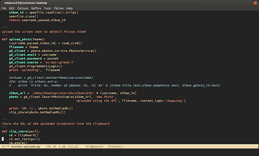 """Screenshot of screen-upload.py in Emacs"""
