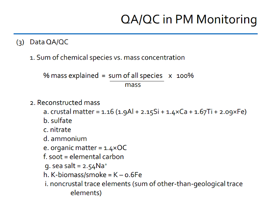 QA/QC in PM monitoring. Data. Chemical species vs mass concentration. Reconstructed Mass.