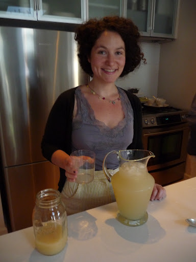 Morgan made a delicious lemon-ginger spritzer.